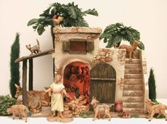 "pictures of Fontanini nativity displays | Fontanini Italy 5""Village Bethlehem Inn Nativity New BX 