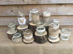 10 X Handmade Rustic Wedding Glass Jam Jar Centrepiece Tea Light Holders Vase Centre Piece