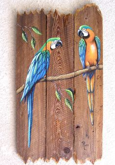 Parrot Pair Hand Painted on Wood Reclaimed Fence Boards (Custom Order Only) Rustic Painting, Pallet Painting, Pallet Art, Tole Painting, Painting On Wood, Fence Painting, Decoration Pirate, Fence Art, Fence Boards