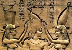 The Pschent crown, which is shown in the middle, is symbolic of a pharaoh having control over upper and lower egypt.