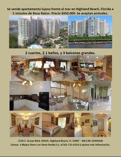 Se vende apartamento en comunidad lujosa frente al mar cerca de Boca Raton, FL. www.ToscanaRealEstate.info