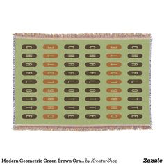 Modern Geometric Green Brown Orange Custom Name Throw Blanket Photo Memories, Made Goods, Green And Brown, Keep It Cleaner, Are You The One, Colorful Backgrounds, Best Gifts, Typography, Names