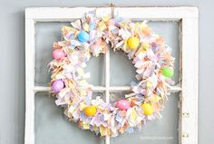 Absolutely adorable Scrap Fabric Easter Wreath! Grab some spring colored fabric and add this cuteness to your Easter Decor.