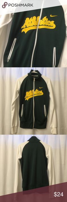 Nike Oakland Athletics Zip Up Sweater Nike Oakland Athletics Zip Up Sweater in great condition! Zip up pockets. Size Medium. Nike MLB Sweaters
