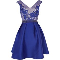 Little Mistress Sleeveless V Neck Fit and Flare Lace Top Dress ($100) ❤ liked on Polyvore featuring dresses, blue, women, blue dress, blue v neck dress, lace fit and flare dress, blue lace dress and short lace dress