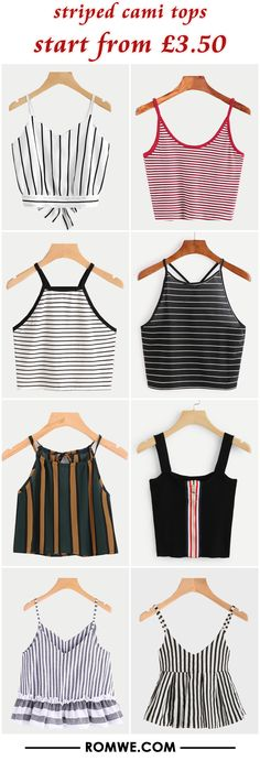 striped cami tops from £3.50