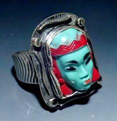 Sterling Silver Vintage Selro Selini Face Ring by Tommy Conch Designs. American Made. See the designer's work at the 2015 American Made Show, Washington DC. January 16-19, 2015. americanmadeshow.com #ring, #jewelry, #vintage, #sterlingsilver, #selroselini, #americanmade
