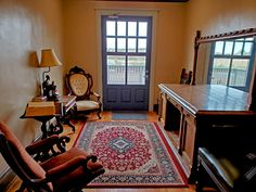 This is a reading nook off the second floor guest room hallway. The door leads to an obervation deck that overlooks the east courtyard. Reading Nook, Second Floor, Guest Room, Two By Two, Deck, Flooring, Home Decor, Decoration Home, Room Decor