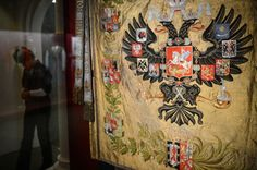 Russian State Imperial flag, 1895 shown at the exhibition dedicated to the 400th Anniversary of the Romanovs. The exhibition took place in Moscow Kremlin in September, 2013