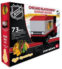 Chicago Blackhawks Zamboni Machine Building Block Set - Time to clean the ice! Create or recreate memorable Chicago Blackhawks moments with the Blackhawks Zamboni ice resurfacing machine. - The Chicag