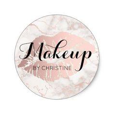 makeup calligraphy on big lips classic round sticker - beauty gifts stylish beautiful cool