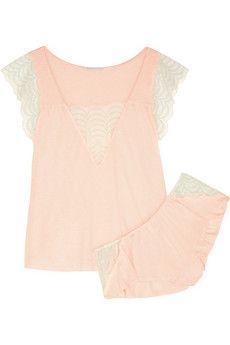 Eberjey Anika lace-trimmed jersey pajama set   NET-A-PORTER