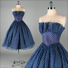 Vintage 1950s Blue Organza Polka Dot Dress, Fred Perlberg