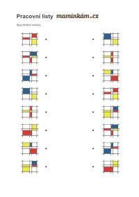 Pracovní listy pro předškoláky - zrakové vnímání 5 až 6 let - spoj shodné obrázky Mondrian Daily Activities, Book Activities, Mondrian, Kids Learning, Everyday Activities