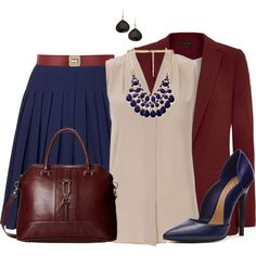 """""""Navy Blue Pleated Skirt"""" by penny-martin on Polyvore"""