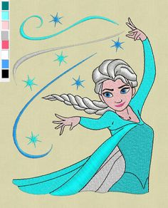 ELSA Frozen Stickerei-design-5 x 7-SPE-format von ViolaFashion