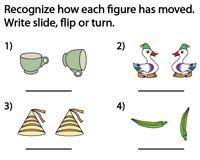 Slide, Flip and Turn Worksheets Mental Maths Worksheets, Geometry Worksheets, Teacher Worksheets, Third Grade Math, Grade 3, Reflection Math, Transformations Math, Math Word Walls, Math School