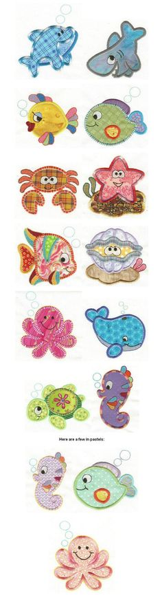 Embroidery | Free machine embroidery designs | Sea Critters Applique: