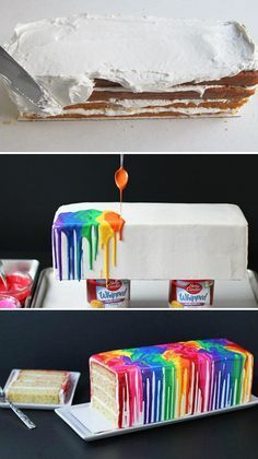 Melted Rainbow Cake This is for times when you have enough time to do so. And enough skills not to have inhaled it in 2 seconds. The post Melted rainbow cake appeared first on Camping. Beautiful Cakes, Amazing Cakes, Cake Cookies, Cupcake Cakes, Cake Icing, Cupcake Ideas, Buttercream Cake, Bolo Cake, Creative Cakes