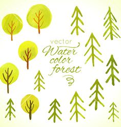 Watercolor trees set template for your design vector on VectorStock