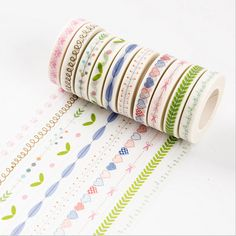 10 Styles Cute Kawaii Flower Grass 10M DIY Washi Tape Lovely Heart Decoration Label Adhesive Masking Tape For Album Scrapbooking #Affiliate