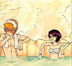 Rukia and Ichigo at the hot springs Sooo cute!!!