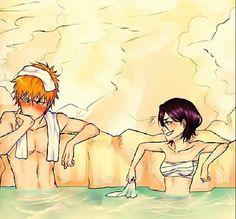 Rukia and Ichigo at the hot springs Sooo cute!!!