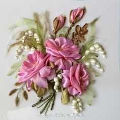 Wonderful Ribbon Embroidery Flowers by Hand Ideas. Enchanting Ribbon Embroidery Flowers by Hand Ideas. Ribbon Embroidery Tutorial, Flower Embroidery Designs, Silk Ribbon Embroidery, Learn Embroidery, Embroidery Art, Embroidery Stitches, Embroidery Patterns, Ribbon Art, Felt Ornaments