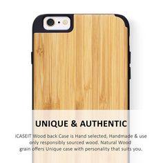 iCASEIT iPhone 6 / 6s PLUS WOOD Case   Bamboo / Black