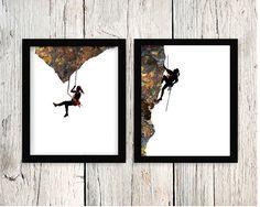 Rock Climbing Art 8x10 Printable Girl/Lady by BRememberedDesigns