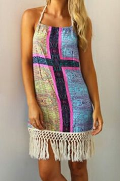6394fa58bfc5 Sexy Halter Floral Print Fringe Splicing Sleeveless Dress For Women