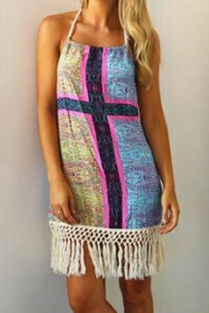 Sexy Halter Floral Print Fringe Splicing Sleeveless Dress For Women