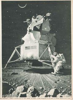 Le premier pas sur la Lune, qui deviendra réalité quelques mois plus tard. Illustration Norman Rockwell - Paris Match, 1er mars 1969