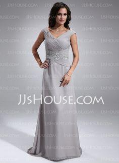 Mother of the Bride Dresses - $134.99 - A-Line/Princess V-neck Sweep Train Chiffon Mother of the Bride Dresses With Ruffle Beading (008005681) http://jjshouse.com/A-Line-Princess-V-Neck-Sweep-Train-Chiffon-Mother-Of-The-Bride-Dresses-With-Ruffle-Beading-008005681-g5681