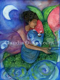 Yemaja Goddess of Compassion. by OlivosARTstudio on Etsy, $20.00 Yemaja is with you especially to be called upon for blessings of compassion, wisdom, fertility, creation, riches, inspiration, motherhood, female power, natural wealth, women's issues, having children, sustaining life, washing away sorrow, revealing mysteries, acquiring ancient wisdom, protecting the home, learning not to give your power away, and comforting women and children in crisis.