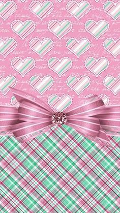 Image via We Heart It #background #bow #heart #pattern #ribbon #wallpaper #wallpapersiphone