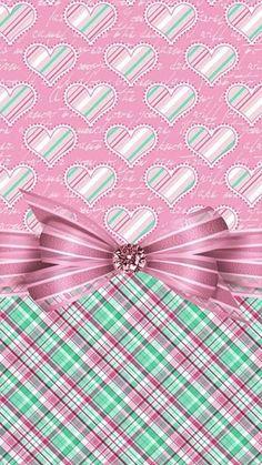 Image via We Heart It #background #bow #heart #pattern #ribbon #wallpaper #wallpapersiphone