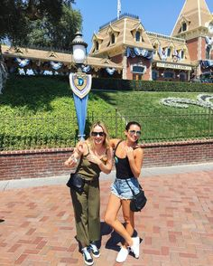 Lea Michele and Becca Tobin in Disneyland