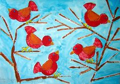 met aardappelen  het lijf, kop en staart van de vogeltjes stempelen. met rietjes de takken stempelen. laten drogen en dan de vogeltjes verder afmaken met stiften. op blauw papier werken.