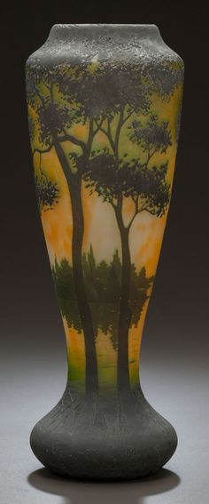 DAUM ETCHED AND OVERLAY GLASS SCENIC CAMEO VASE Circa 1900, Engraved: DAUM, NANCY with cross of Lorraine