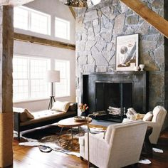 floor to ceiling stone fireplace + wood beams http://thayermanor.wordpress.com/
