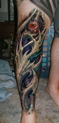 Awesome biomechanical tattoo, love the texture and 3dism!