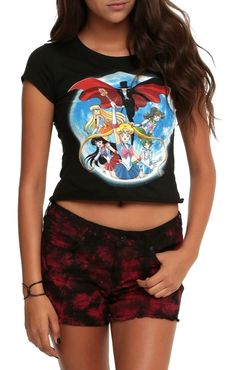 MOONIE MERCH OF THE DAY: New Sailor Moon Crop Top! Buy here! --> http://www.moonkitty.net/buy-new-sailor-moon-tshirts.php #SailorMoon #Geek