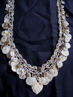 crocheted button necklace