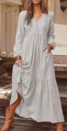 V-Neck Button Long Sleeve Pullover Plain Dress Floryday Vestidos, Types Of Sleeves, Dresses With Sleeves, Mode Hippie, Plain Dress, Maxi Robes, Long Sleeve Maxi, Ruffle Dress, Boho Dress