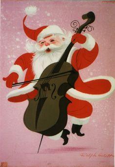 Ralph Hullett Santa on bass fiddle