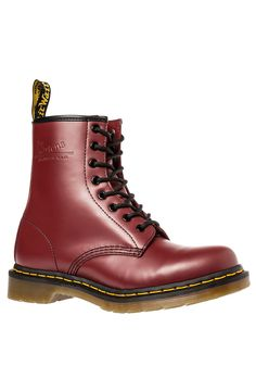The Dr. Marten Vegan 1460 8-Eye Boot in Cherry Red. The Dr. Martens 8-Eye boot is a classic of verge subcultural fashion. http://www.zocko.com/z/JHvmZ
