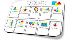 Les formes logiques Preschool Letters, Preschool Kindergarten, Pre School, School Bags, Tangram, Cube Pattern, Math For Kids, Numeracy, Edd