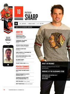 10 // PATRICK SHARP - Blackhawks Magazine surveys 2014-15