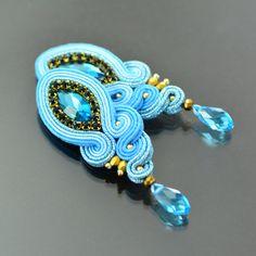 Clip on Blue Soutache Earrings - Medium Unique Blue Gold Glossy Earrings - Unique Sparkling Earrings - Orecchini Soutache - Clip on Earrings by OzdobyZiemi on Etsy